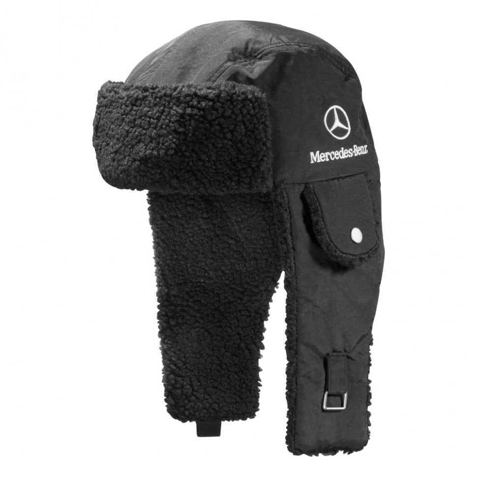 Mercedes benz trucker winter hat with ear flaps genuine for Mercedes benz hat