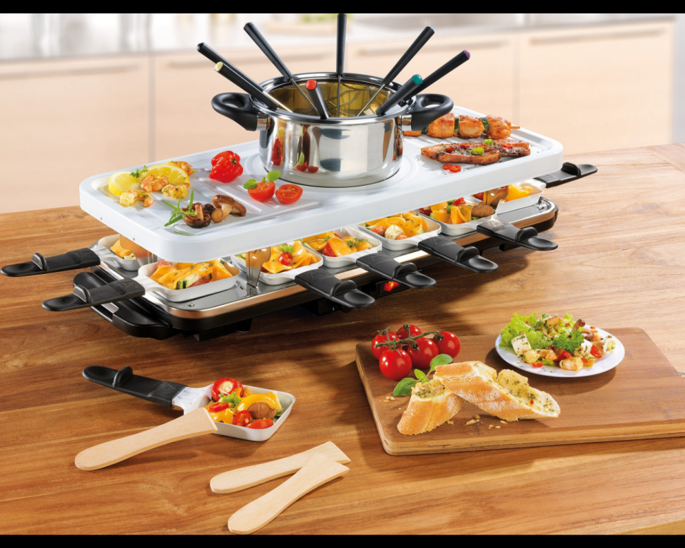 gourmet maxx raclette fondue set with ceramic coating for 12 persons genuine new ebay. Black Bedroom Furniture Sets. Home Design Ideas
