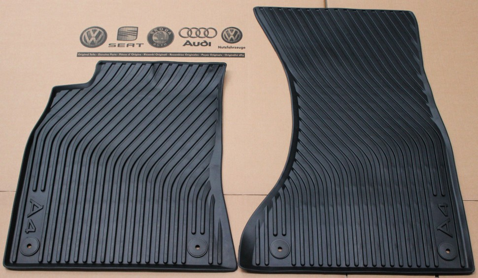 audi a4 b8 front rubber floor mats set black b8 8k 2007. Black Bedroom Furniture Sets. Home Design Ideas