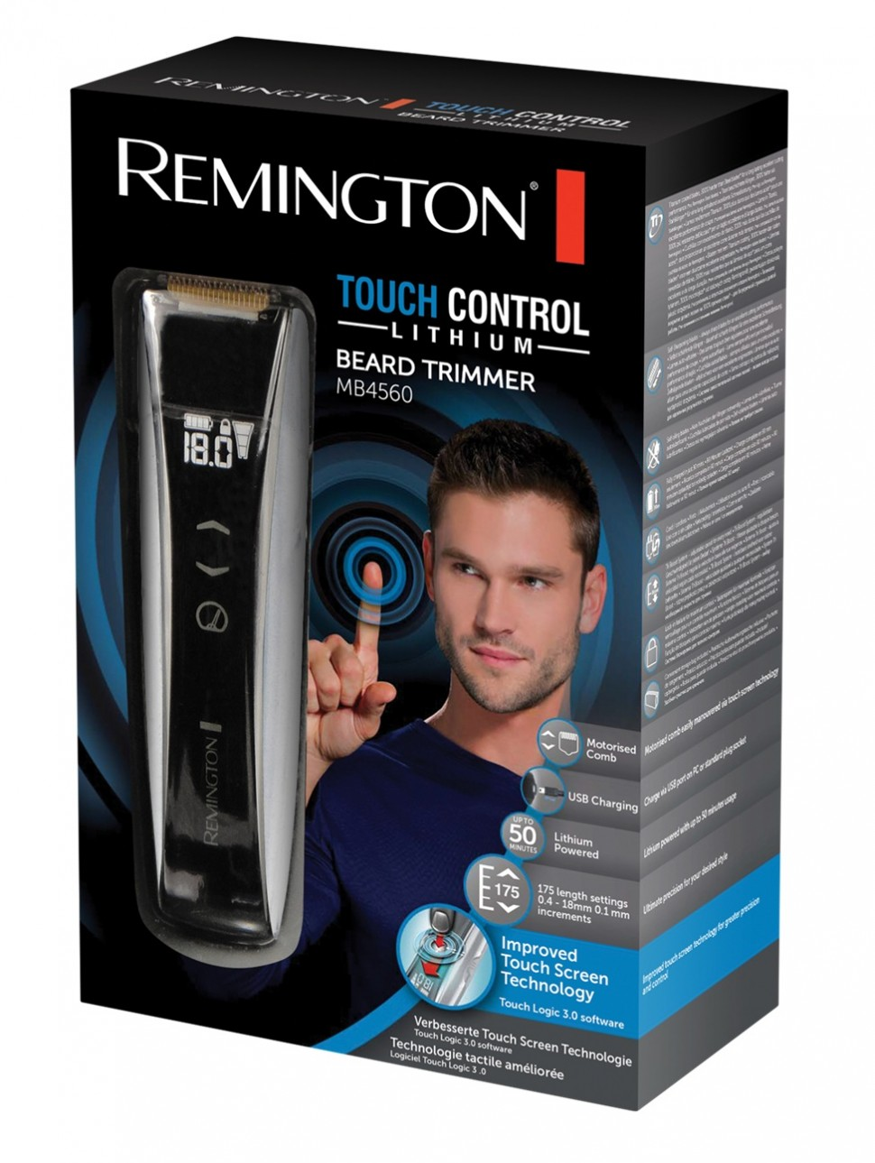 remington mb4560 touch control beard trimmer titanium coated blades genuine new 4008496818693 ebay. Black Bedroom Furniture Sets. Home Design Ideas