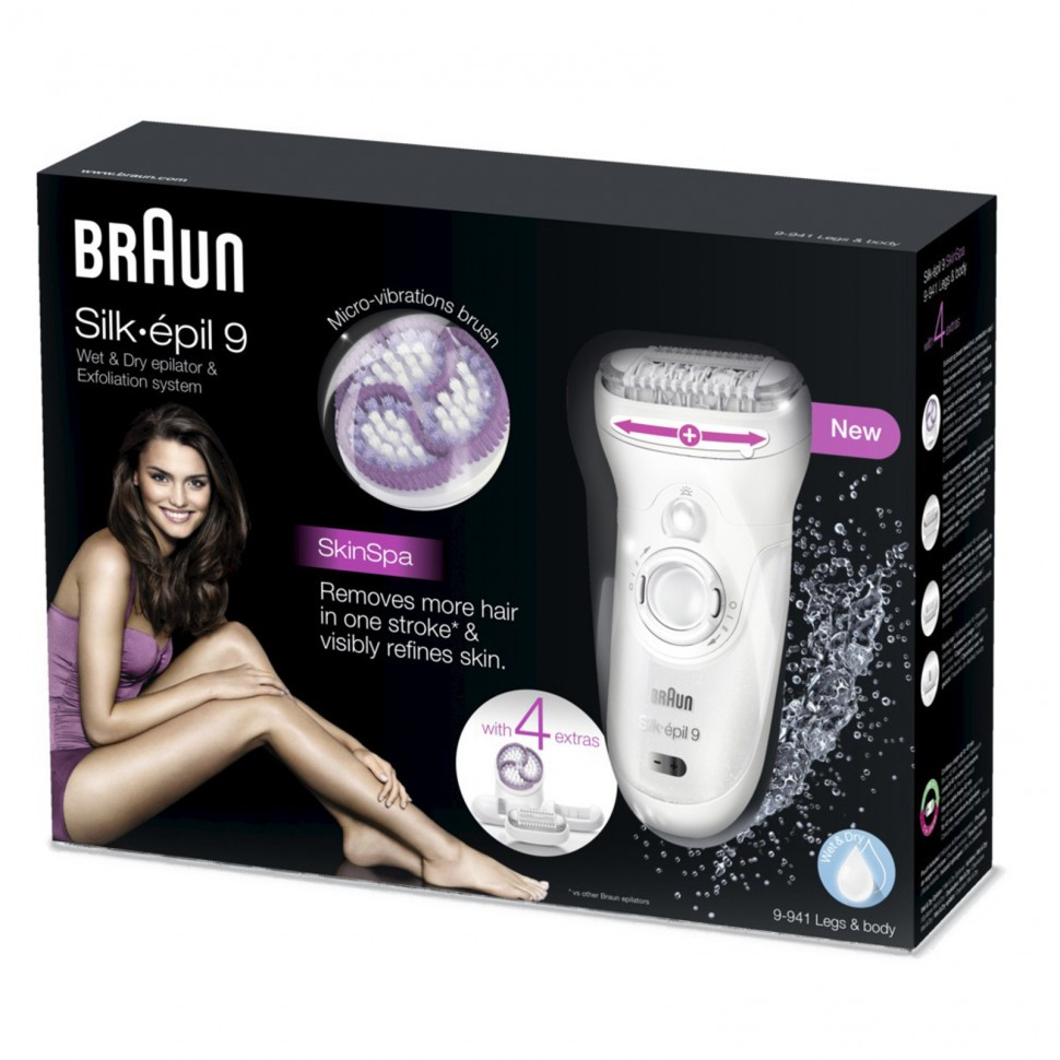 braun silk epil 9 skin spa 9 941 wet dry epilator legs body genuine new ebay. Black Bedroom Furniture Sets. Home Design Ideas