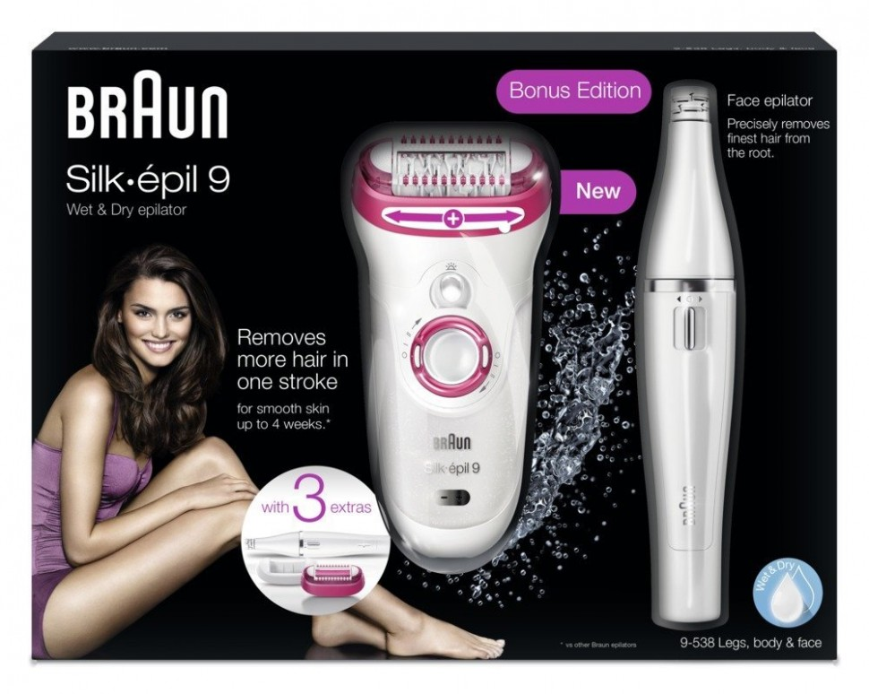 braun silk epil 9 9 538 wet dry epilator legs body face bonus ed genuine new ebay. Black Bedroom Furniture Sets. Home Design Ideas