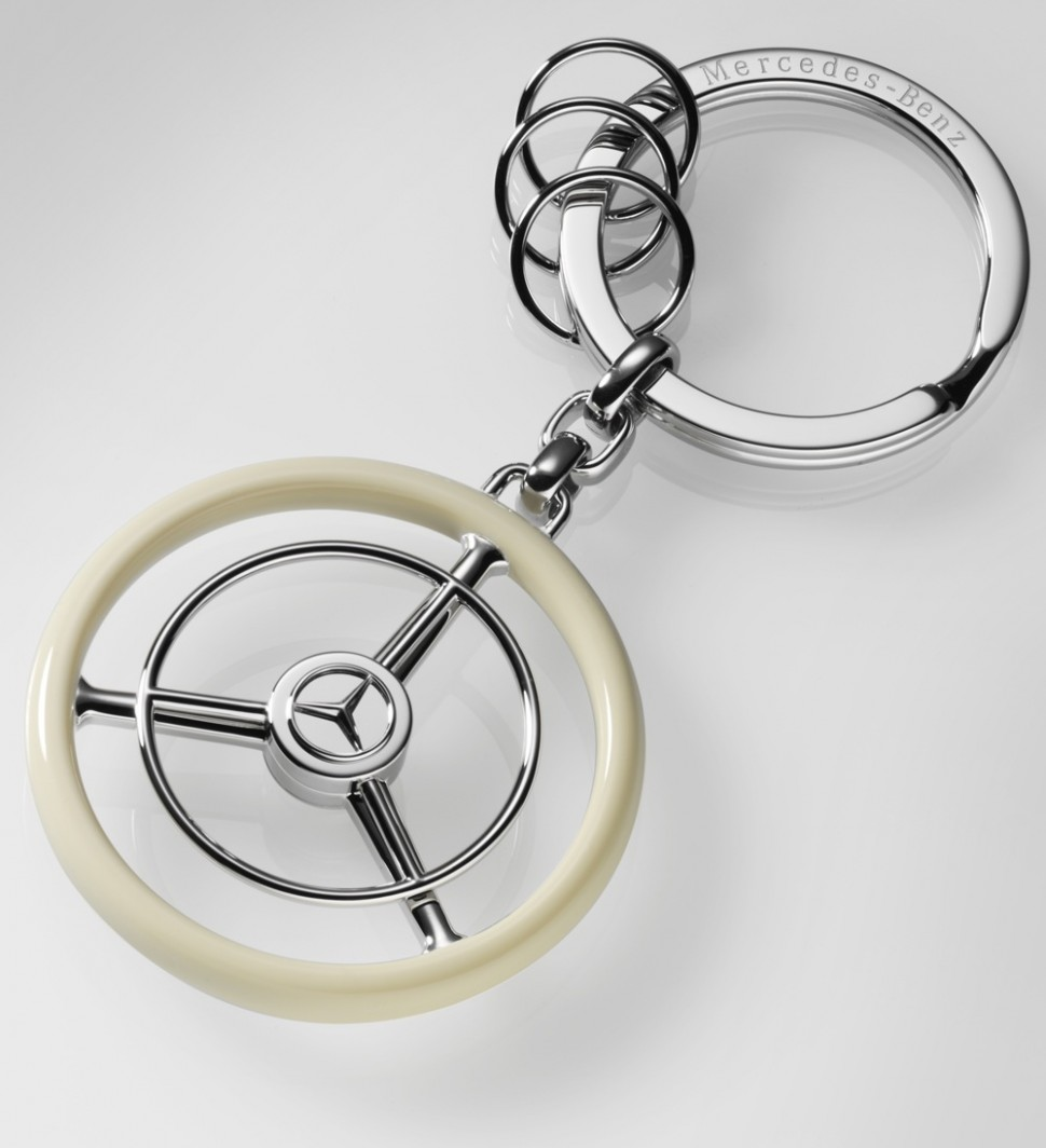 Mercedes benz key ring classic steering wheel beige for Mercedes benz ring