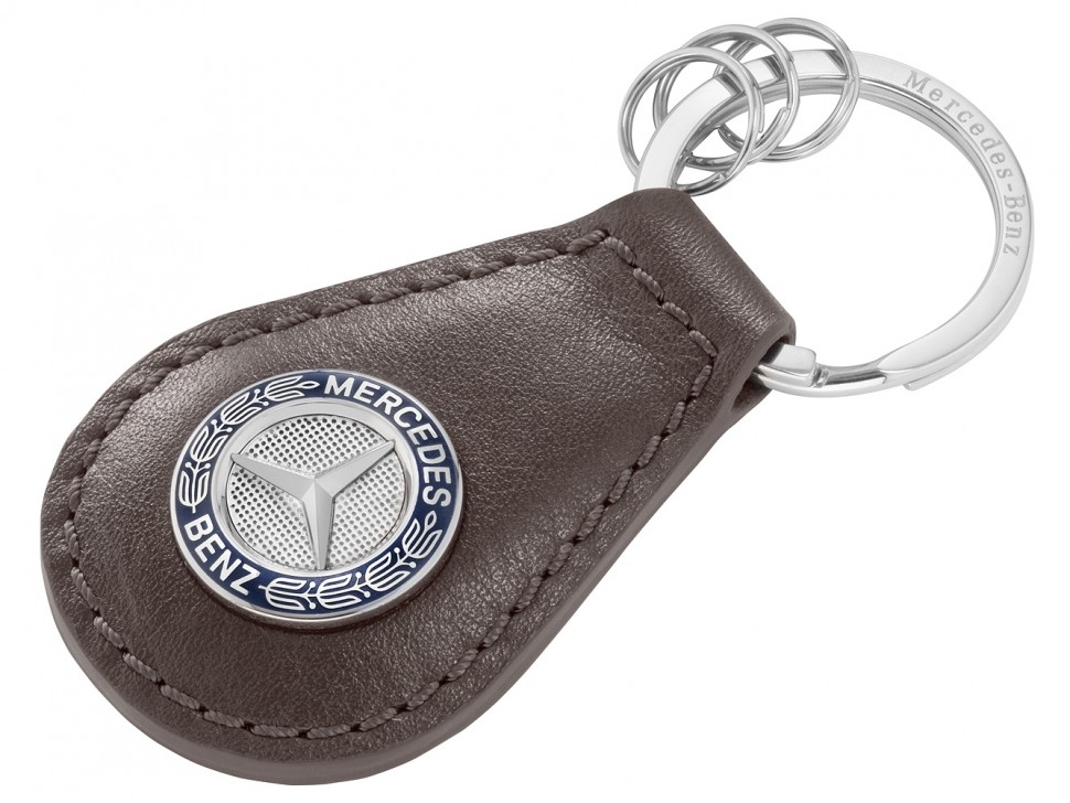 Mercedes Benz Key Ring Keyring Brown Leather Classic