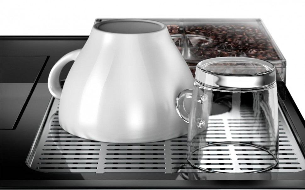 coffee machine with grinder and milk frother