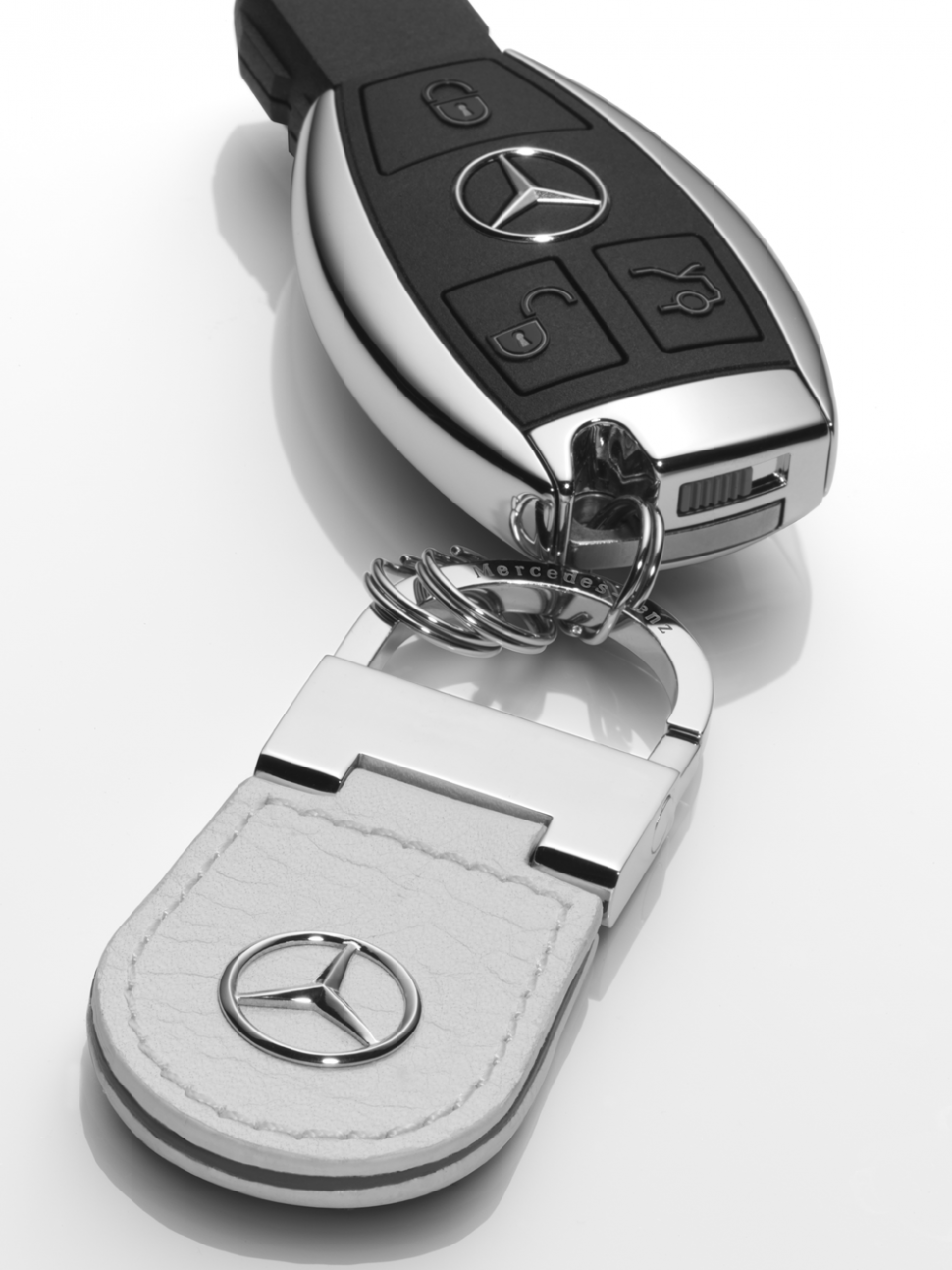 Mercedes benz key ring keyrings beijing white leather for Mercedes benz usa customer service phone number