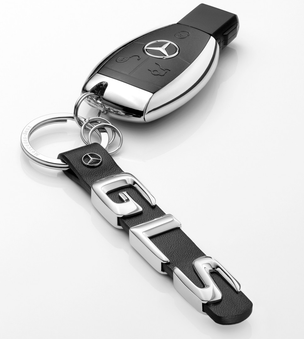 mercedes benz black leather keyring key ring gls class. Black Bedroom Furniture Sets. Home Design Ideas