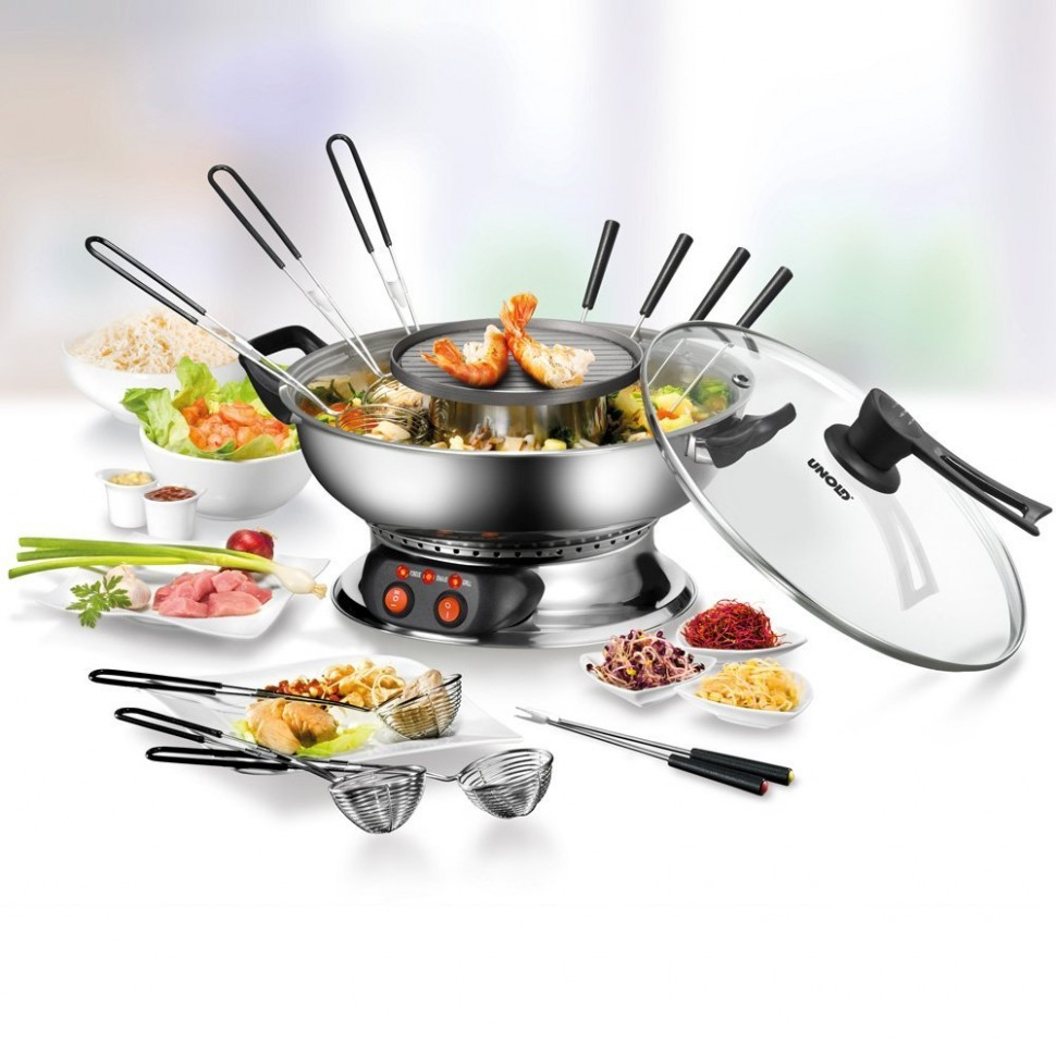 unold 48746 asia fondue set with grill function 1950w stainless steel genuine ebay. Black Bedroom Furniture Sets. Home Design Ideas