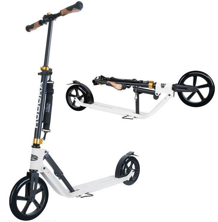 hudora 14236 kick push scooter folding big wheel style 230 white genuine new ebay. Black Bedroom Furniture Sets. Home Design Ideas
