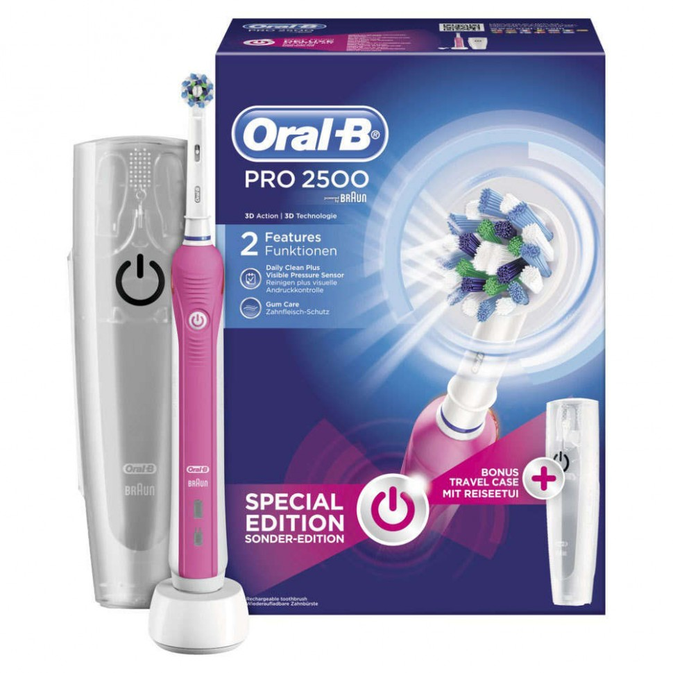 braun oral b pro 2500 pink electric toothbrush travel case genuine new ebay. Black Bedroom Furniture Sets. Home Design Ideas
