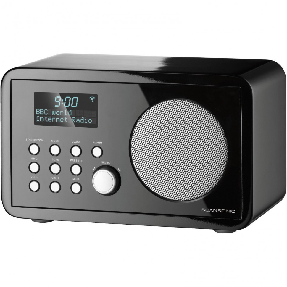 scansonic in210 fm internet radio black wifi lcd dual alarm clock genuine new. Black Bedroom Furniture Sets. Home Design Ideas