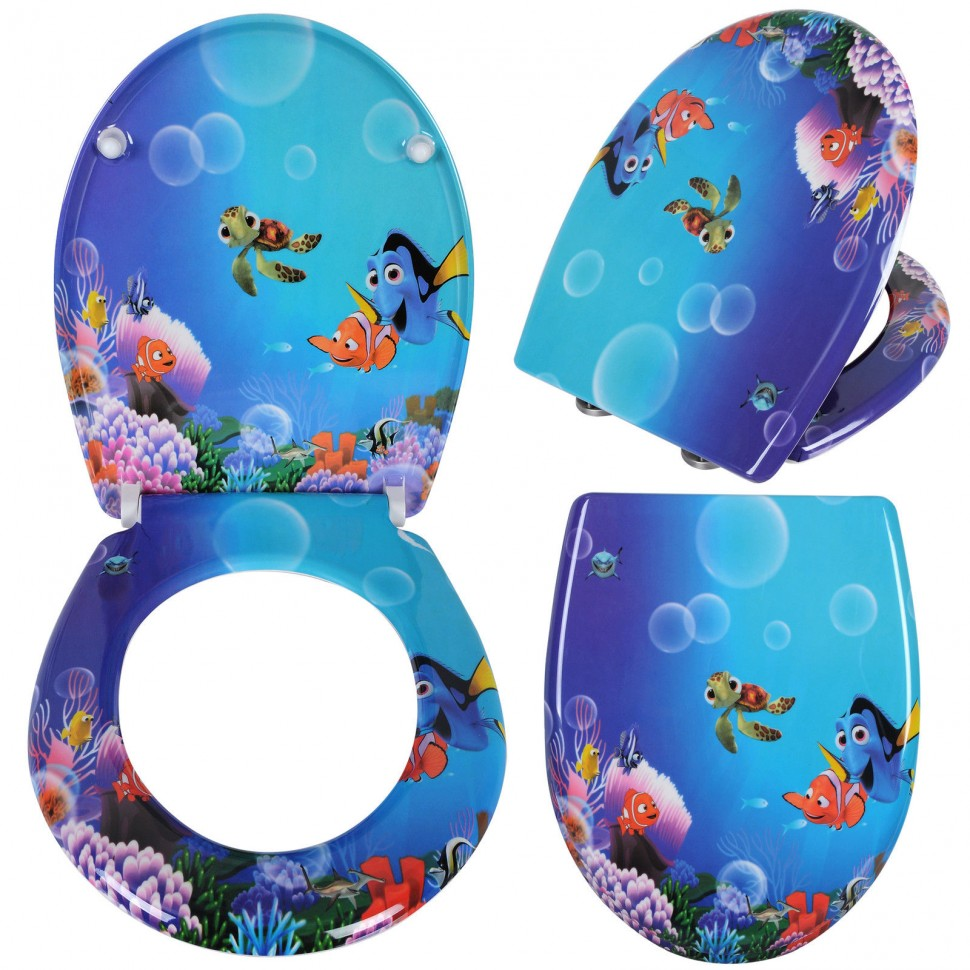 woltu duroplast thermoset gold fish wc toilet seat lid. Black Bedroom Furniture Sets. Home Design Ideas