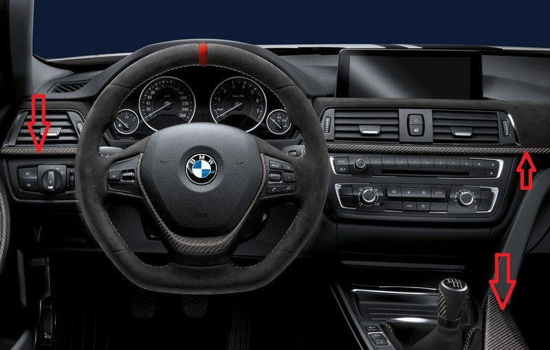 Bmw 3 Series F30 F31 F34 Gt M Performance Carbon Alcantara Interior Trim Genuine Ebay