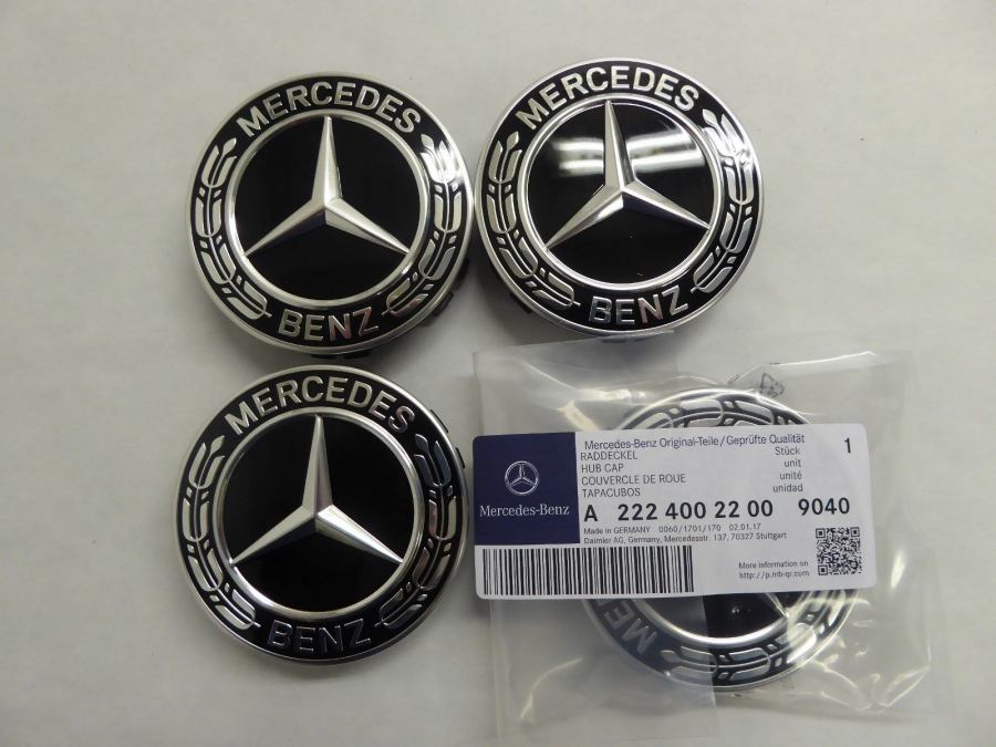 Mercedes benz laurel wreath hub caps set black for Mercedes benz hubcaps